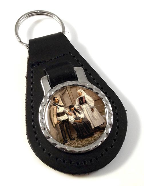 Hungarian National Costume Leather Key Fob