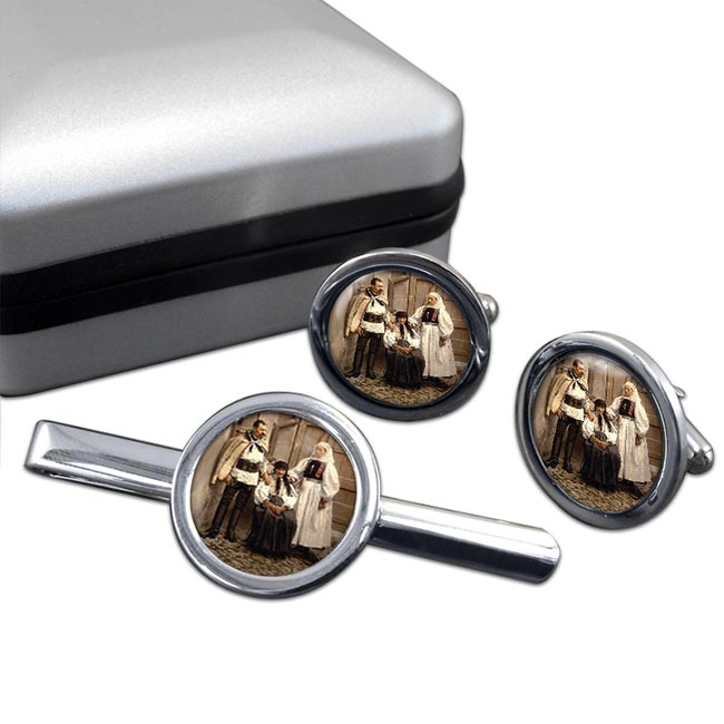 Hungarian National Costume Round Cufflink and Tie Clip Set