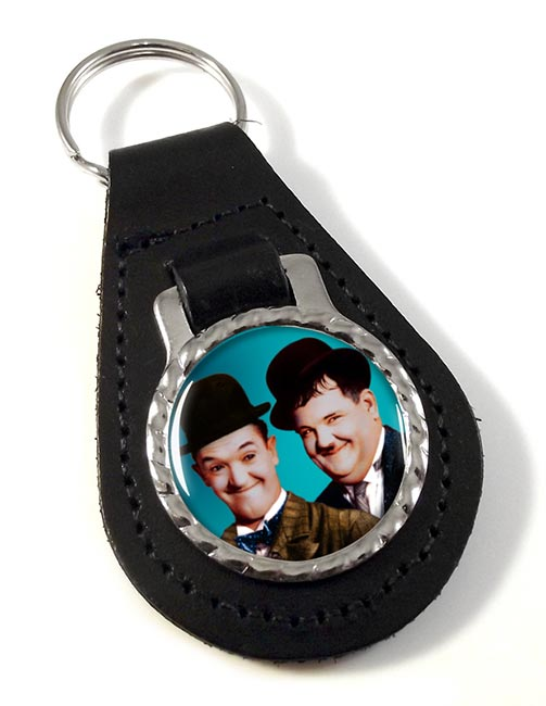 Laurel and Hardy Leather Key Fob