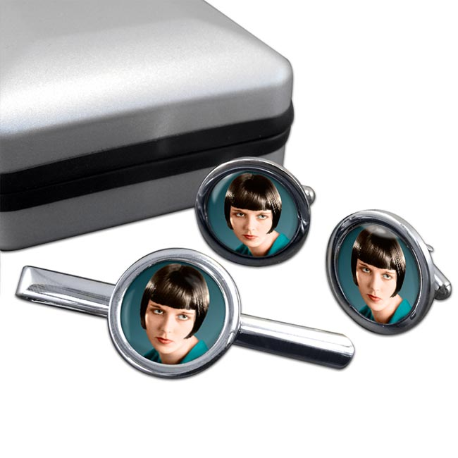 Louise Brooks Round Cufflink and Tie Clip Set