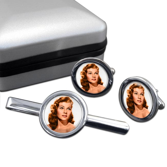 Rita Hayworth Round Cufflink and Tie Clip Set