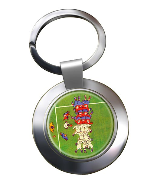 Rugby Scrum Chrome Key Ring