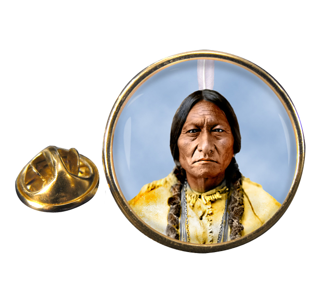 Sitting Bull Round Pin Badge