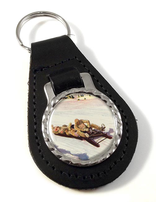 Tobogganing in Engadin 1906 Leather Key Fob