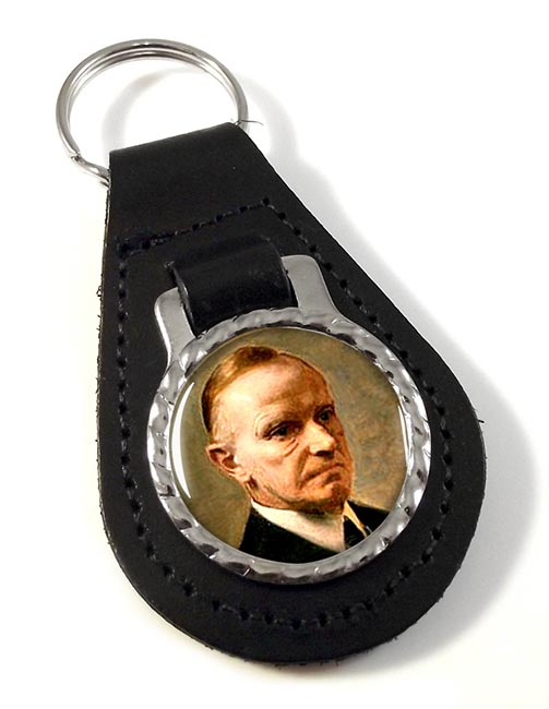 President Calvin Coolidge Leather Key Fob