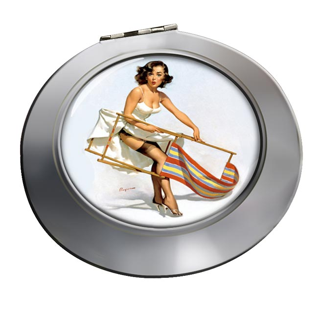 Help Needed Pin-up Girl Round Mirror
