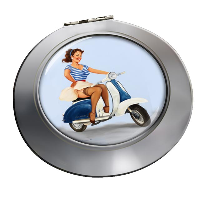 Pin-up Scooter Girl Round Mirror