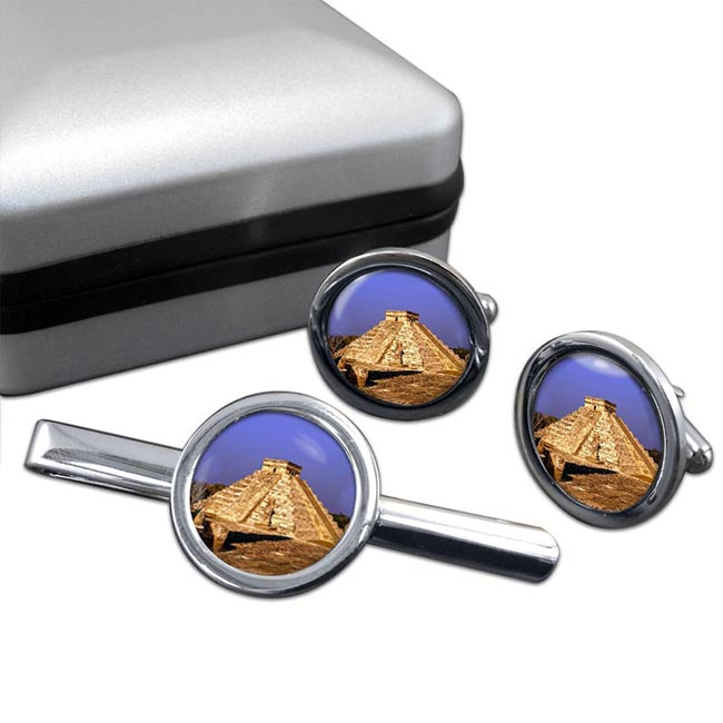Pyramid Mexico Round Cufflink and Tie Clip Set