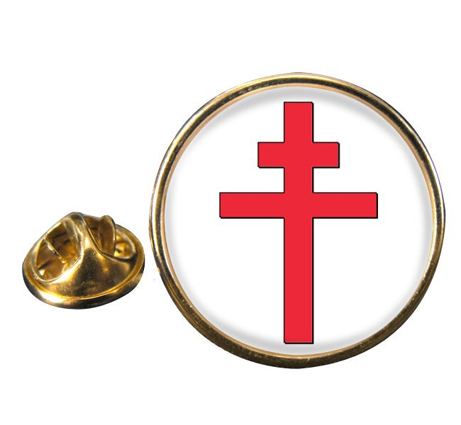 Cross of Lorraine Round Pin Badge