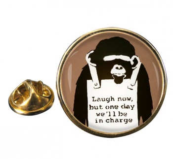 Laugh Now by Banksy Pin Badge