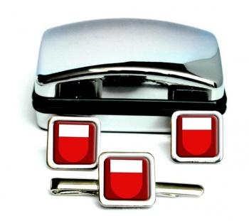 Lausanne (Switzerland) Square Cufflink and Tie Clip Set