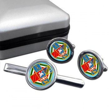 Lazio (Italy) Round Cufflink and Tie Clip Set