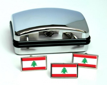 Lebanon Flag Cufflink and Tie Pin Set