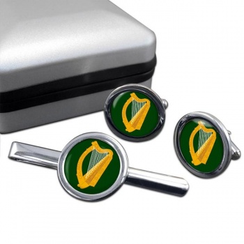 Leinster (Ireland) Round Cufflink and Tie Clip Set