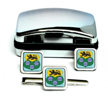 County Leitrim (Ireland) Square Cufflink and Tie Clip Set
