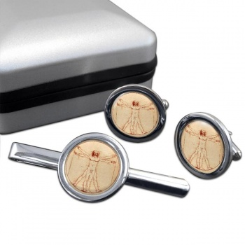 Vitruvian Man by Leonardo Da Vinci Round Cufflink and Tie Clip Set