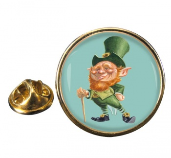 Leprechaun Round Pin Badge