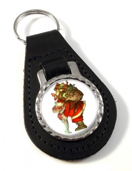 Christmas by Leyendecker Leather Keyfob