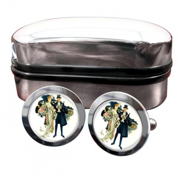 High Society by J.C. Leyendecker Round Cufflinks