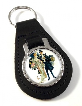 High Society by J.C. Leyendecker Leather Keyfob