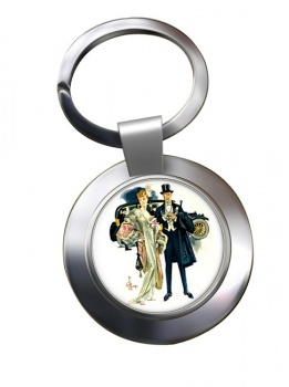 High Society by J.C. Leyendecker Chrome Key Ring