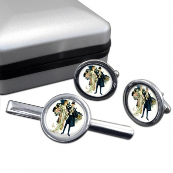 High Society by J.C. Leyendecker Round Cufflink and Tie Clip Set
