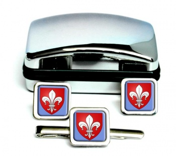 Lille (France) Square Cufflink and Tie Clip Set