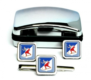 Lillehammer (Norway) Square Cufflink and Tie Clip Set