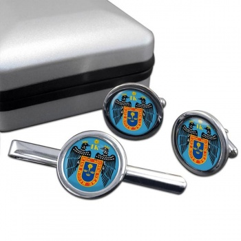 Lima (Peru) Round Cufflink and Tie Clip Set