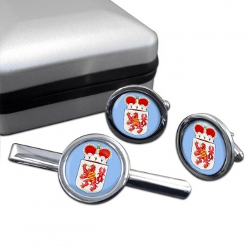 Limburg (Belgium) Round Cufflink and Tie Clip Set