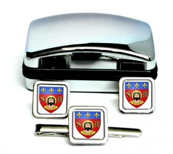 Limoges (France) Square Cufflink and Tie Pin Set