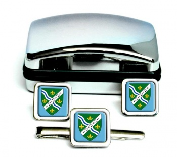 Lincolnshire (England) Square Cufflink and Tie Clip Set