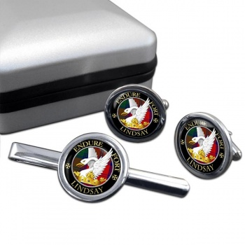 Lindsay Scottish Clan Round Cufflink and Tie Clip Set