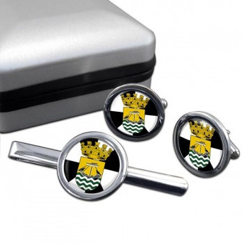 Lisboa Lisbon (Portugal) Round Cufflink and Tie Clip Set