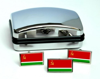 Lithuanian Soviet  Flag Cufflink and Tie Pin Set