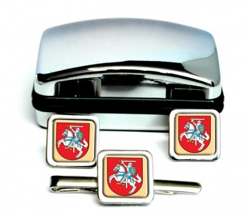 Lithuania Lietuva Square Cufflink and Tie Clip Set