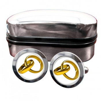 Marriage Interlocking Rings Round Cufflinks
