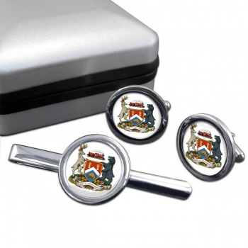 London (Canada) Round Cufflink and Tie Clip Set