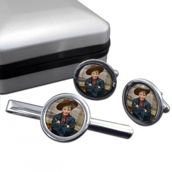 London Orphan Round Cufflink and Tie Clip Set