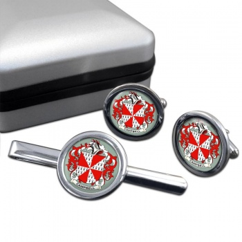 Campbell of Loudoun Coat of Arms Round Cufflink and Tie Clip Set