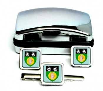 County Louth (Ireland) Square Cufflink and Tie Clip Set