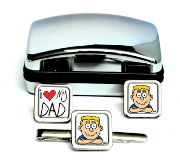 I Love My Dad Square Cufflink and Tie Clip Set