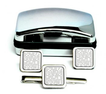 Lord's Prayer Square Cufflink and Tie Clip Set