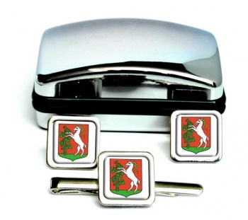 Lublin (Poland) Square Cufflink and Tie Clip Set