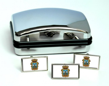 Lugo (Spain) Flag Cufflink and Tie Pin Set