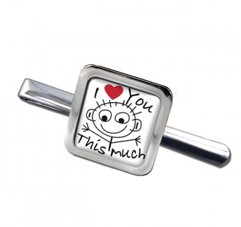 I Love You This Much Square Tie Clip