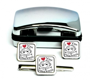 I Love You This Much Square Cufflink and Tie Clip Set