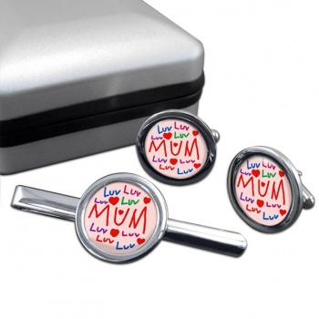 Love Mum Round Cufflink and Tie Clip Sert