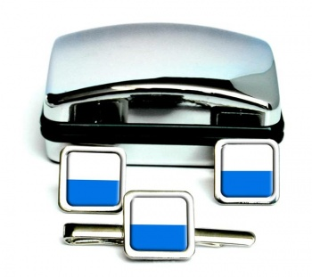 Lucerne (Switzerland) Square Cufflink and Tie Clip Set