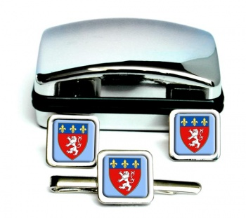 Lyon (France) Square Cufflink and Tie Clip Set